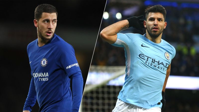 Eden Hazard , Sergio Aguero, Chelsea , Manchester City, epl,
